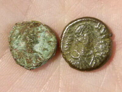 2 x JUSTIN I Small Ancient Byzantine Coins  - diggerlee NO Reserve  #Q302