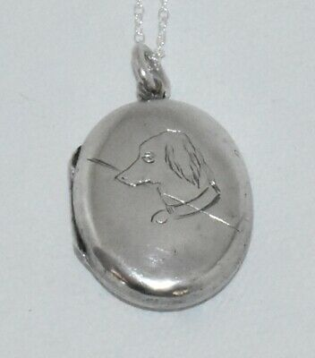 Fabulous ANTIQUE 1893 *STERLING* Victorian DOG LOCKET Necklace LOTS OF HALLMARKS