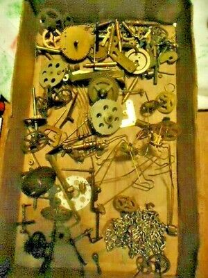Lot of Misc. Clock Movement Parts Gears Wheels Cogs Brass Arts Crafts Steampunk