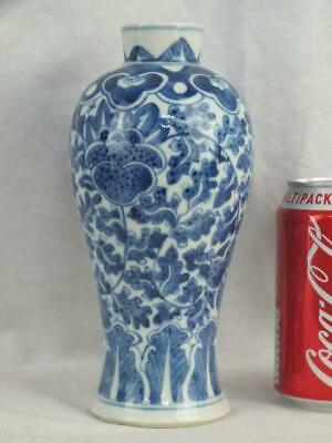 19Th C Chinese Porcelain Blue White Lotus Flowers Vase
