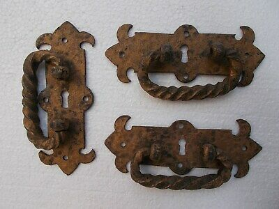 3 Large Antique Wrought Iron/Forged Iron Handles, 19th C.