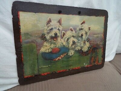 Decoupage Slate Picture West Highland Terriers Wall Plaque Flint Cottage Crafts