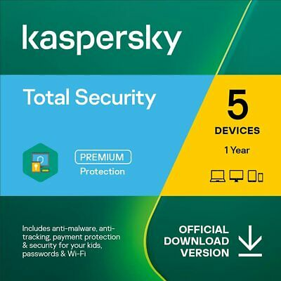 New Kaspersky Total Security 2020 5 Devices 1 Year PC Mac Android Email Key EU
