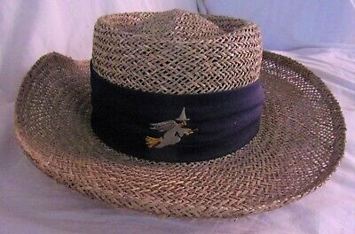 Vintage Firethorn SALEM MASS Witch Mens Straw Hat Embroided Witch & Black Band