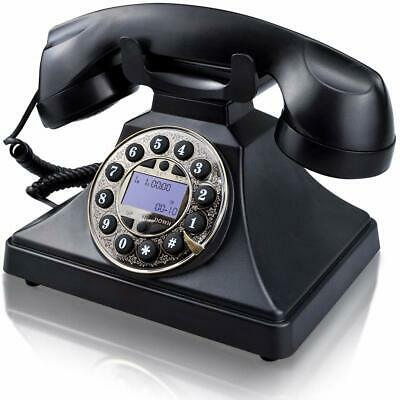 Retro Black Phone Push Button Vintage Desk Telephone Corded Collectors Gifts