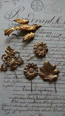 SWEET BATCH ANTIQUE FRENCH GILDED REPOUSSE TOLE FLOWERS & BIRD c1880