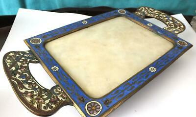 800g Fine French 19thC Champleve Enamel and Onyx Twin Handle Desk Stand / Tray