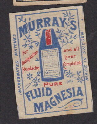 AE Old  Matchbox label Sweden LLLLL15 Murray's Fluid Magnesia