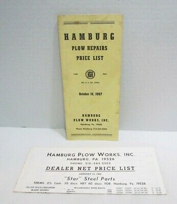 Hamburg Pa Plow Works 1967 1968 Plow Repairs Price List Parts Brochure Catalog