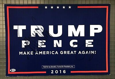 President Donald Trump & Mike Pence Signed 13x19 Campaign Poster 2016 BAS LOA