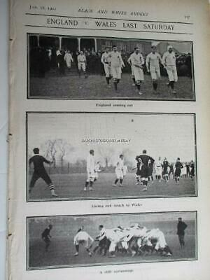 1902 Rugby ENGLAND v WALES 8-9 at Blackheath ::: vintage match report photos 1