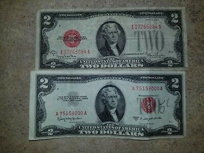 (2) $2 Two Dollar Red Seal USA Legal Tender Note Currency Money Bill 1928 1953