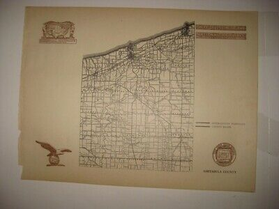 Antique 1920 Ashtabula County Ohio Highway Road Map Railroad Early Detailed Nr