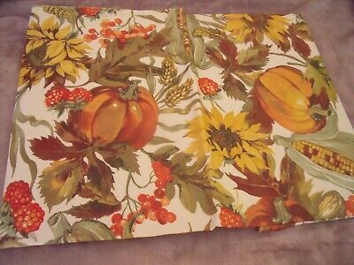 "NEW FALL TABLECLOTH 52"" X 70""  Sunflowers PUMPKINS Leaves & Berries AUTUMN Decor"