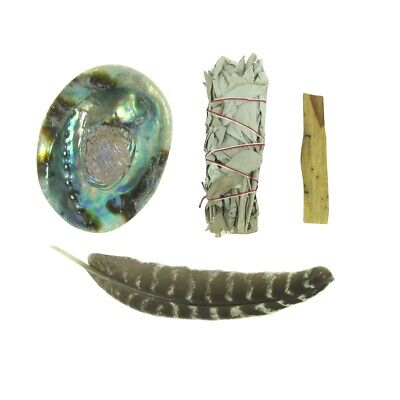 Sage Feather Palo Santo Wood Abalone Smudge House Kit Spiritual Healing Cleanse
