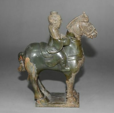 "Rare Chinese Han Dy Old Jade Carved Person Ride Horse ""Bai Jian"" H 14.0 CM"