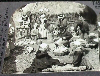 BRETON, France, Peasants Making Wooden Shoes Stereoview