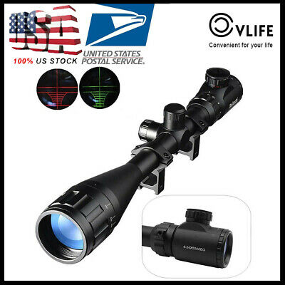 6-24x50 AOE Rifle Scope Riflescope Red and Green Illuminated Hunting 20mm Mount