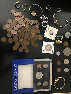 Vintage Junk Drawer Lot/Jewelry/Watches/Old Coins/Unique Collectibles/And More.