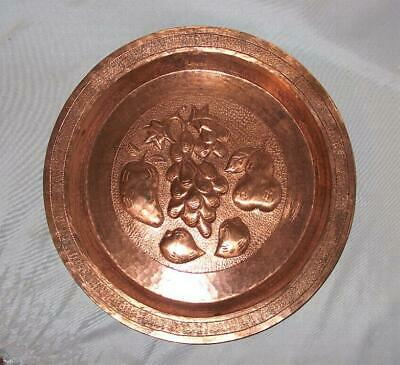 Solid Copper Plate!  Large Hand Hammered and Embossed Solid Copper Plate!