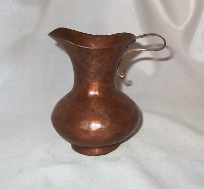 Solid Copper Pitcher!  Vintage Hand Hammered Heavy Solid Copper Pitcher!