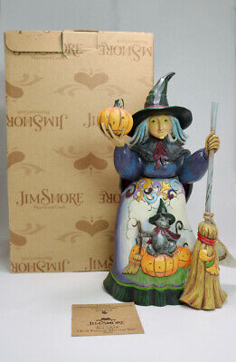 """Bewitched"" Enesco Jim Shore Witch With Cat And Pumpkin #4016050 - Mib"