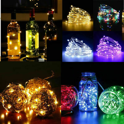 20-100 LED Battery Micro Rice Wire Copper Fairy String Lights Party White XMAS