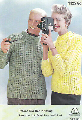 """R614 MANS KNITTING PATTERN ARAN CABLE SWEATER 34-46/"""" ROUND//POLO NECK"""
