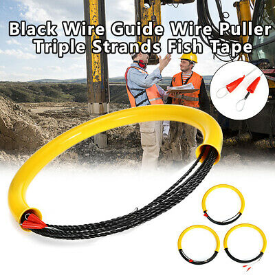 30M 6.5MM Wire Conduit Cable Push Puller Rodder Snake Fish Tape +Cable Tie