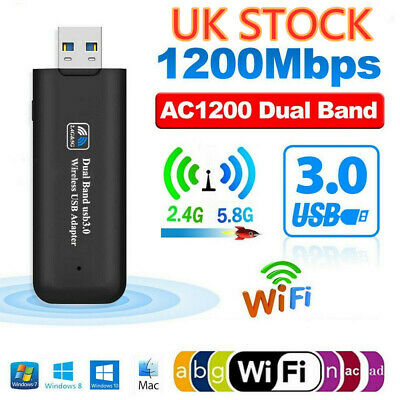 1200Mbps USB 3.0 Dual Band WiFi Dongle 5GHz/2.4G Wireless Network Adapter