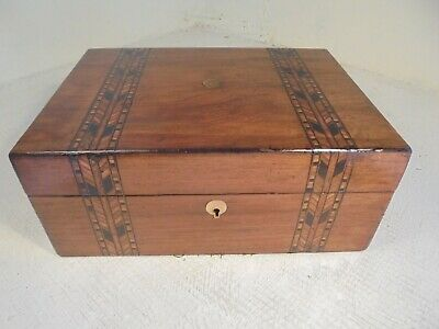 Antique walnut inlaid box , Tunbridge type bands