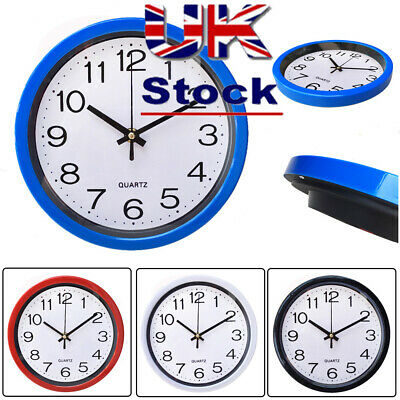 1 PC Round Wall Clock Quartz Silent Sweep Movement Home Bedroom Kitchen Clocks