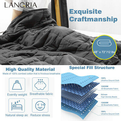 "Weighted Blanket Gravity Adult&Teens Sensory Sleep Reduce Anxiety 48x72"" 12 lbs"