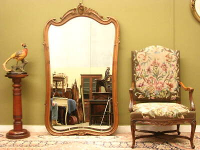 LARGE VINTAGE FRENCH CARVED WALNUT WALL / DRESSING MIRROR ~ LOVELY SHAPE  c1970s