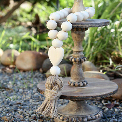 AM_ Nordic Heart Wooden Beads Tassels Hanging Ornament Home Wall Decoration Myst