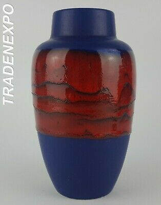 1970s Vintage SCHEURICH KERAMIK Blue/Red Vase West German Pottery Fat Lava