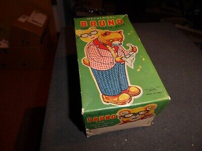 ALPS vintage mint/box Bruno the Spectacle Bear Uhrwerk läuft pristine Top 50ies