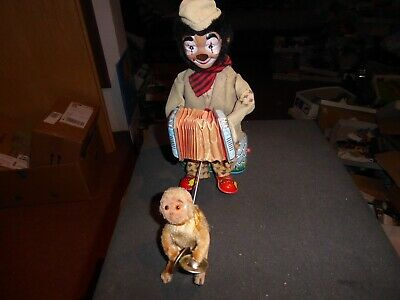 ALPS vintage mint Music Playing Clown mit Monkey funktioniert pristine Top 50ies