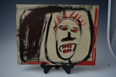 Basquiat , Original Acrylic & Oil Stick Painting on Canvas Signed