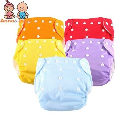 5 Diapers+10 Inserts Adjustable Reusable Lot Baby Washable Cloth Diaper Nappies