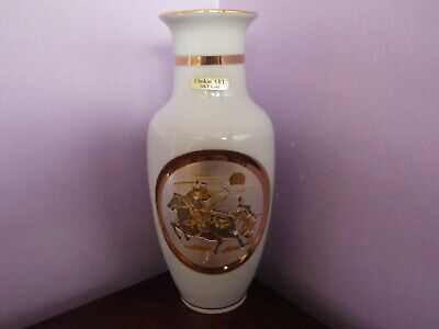Fab Japanese Porcelain Art Of Chokin Samurai Warriors Design Vase 20 .5 Cms Tall