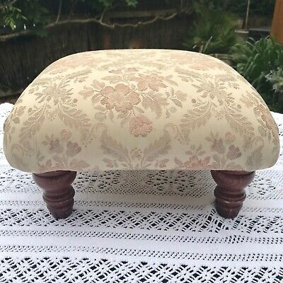 Small Square Upholstered Footstool 4 Wooden Legs Damask Tapestry Look Fabric