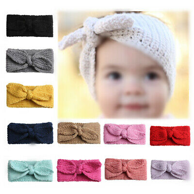 Baby Toddler Girls Headband Crochet Knitted Bow Turban Hair Hair Band Wear Warm