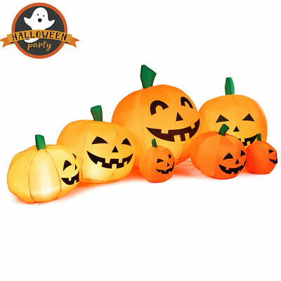 7.5' Halloween Inflatable 7 Pumpkins Patch W/LED Light Outdoor Garden Decoration