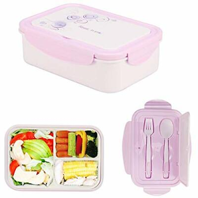 LAKIND Lunch Box, Porta Pranzo, 1400ml Kids Bento Box con 3 Scomparti e (Viola)