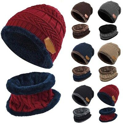 New Boys Kids Warm Hat Scarf Set Knit Fleeced Beanie Cap and Circle Scarf Winter