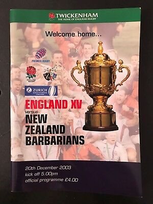 70380 - England XV v NZ BARBARIANS 2003 Rugby Programme 20/12 New Zealand