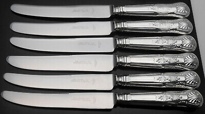 Kings Pattern Set Of 6 Dinner Knives - Silver Plated - Sippel Sheffield Cutlery