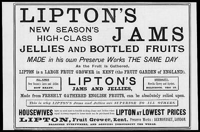 1895 Antique ADVERTISING Print - LIPTONS JAMS Jellies Bottled Fruits  (68)