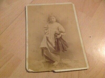 Antique Photo Of Adorable Young Girl With Her Doll - 1800's Cabinet Card
